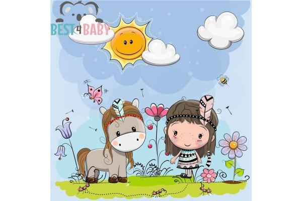 Indián kislány és lova poszter