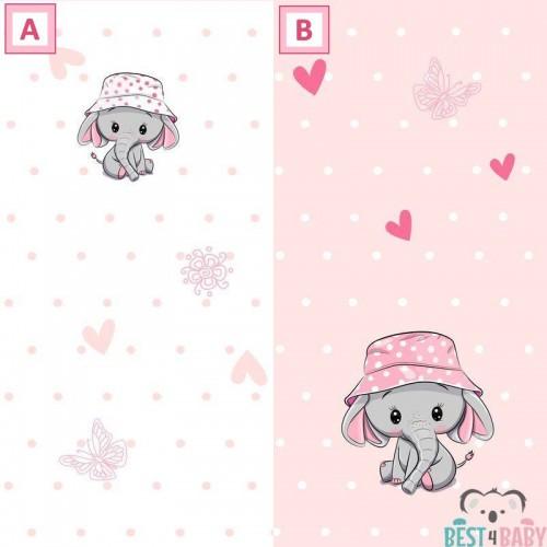 Kislány elefántos tapéta, rózsaszín