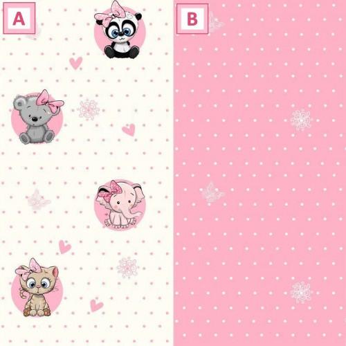 Kislány Állatos  tapéta, rózsaszín