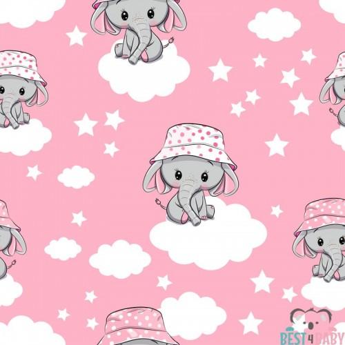 Elefántos rózsaszín gyerekszoba tapéta