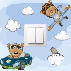 Autós, repülős fiú macis villanykapcsoló matrica