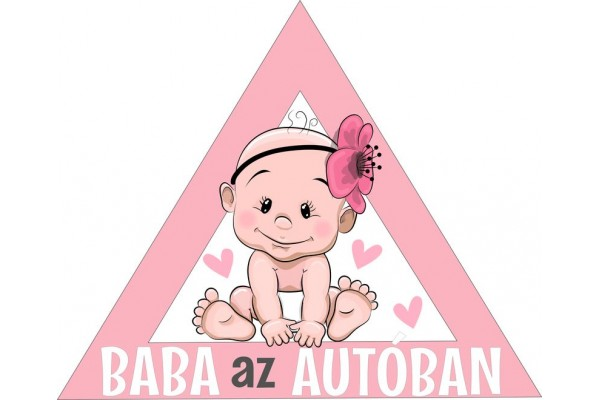 Baba az autóban autómatrica, rózsaszín