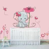 Elefánt virágokkal falmatrica