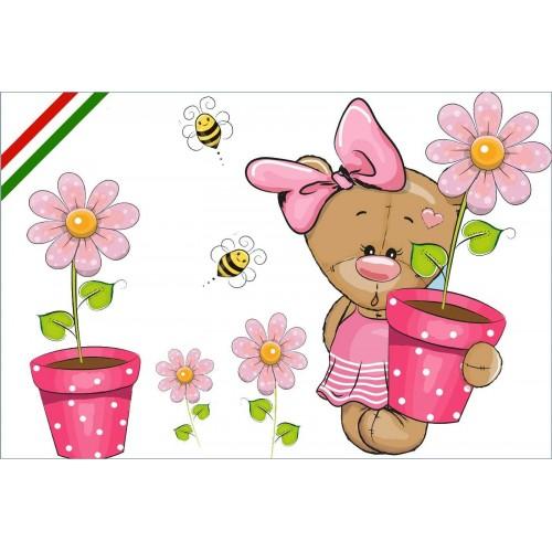Maci virágokkal, kislany