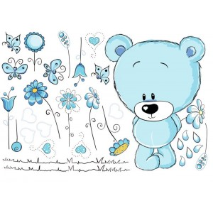 Maci kék virágokkal