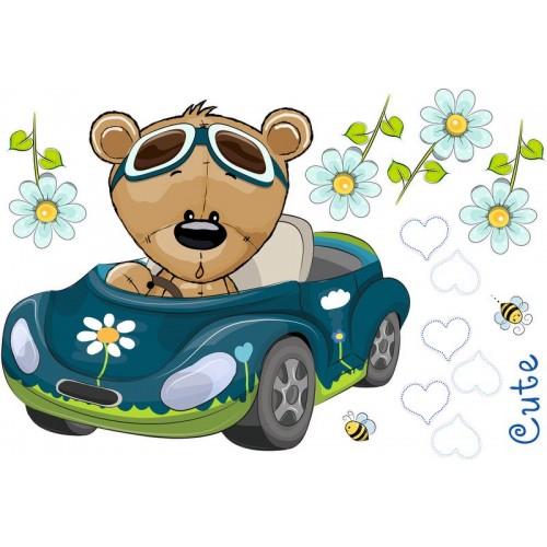 Autós falmatrica, teddy maci kék autóban, sapkában