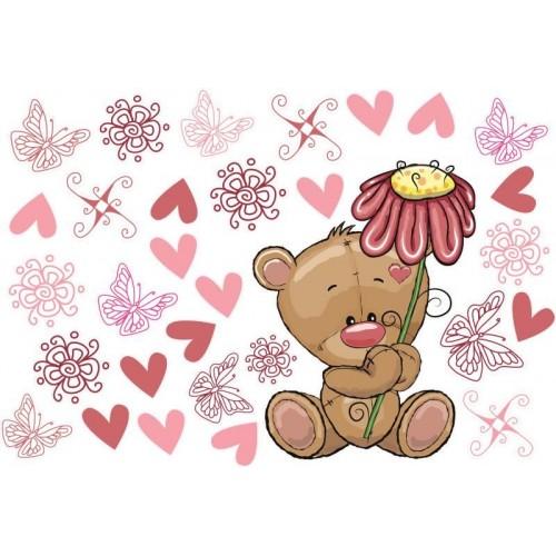 Teddy maci virággal
