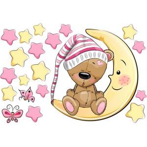 Maci kislány csillagokkal, hálósapkás falmatrica