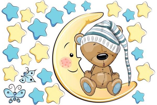 Maci holdon ül és alszik baba matrica