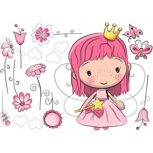 Királylány falmatrica, pink