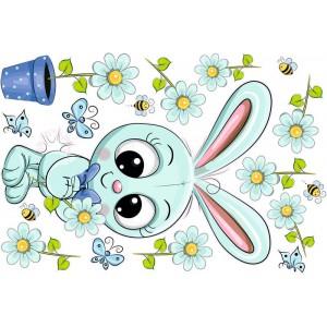 Nyuszis virággal, nyakkendőben falmatrica