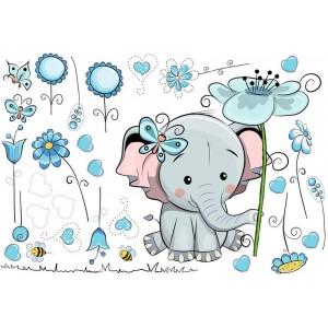 Elefánt kék virágokkal falmatrica