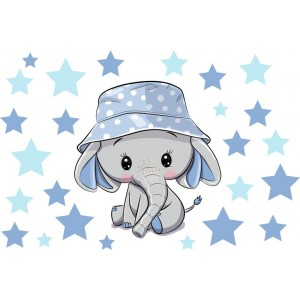Elefánt kék sapkában falmatrica