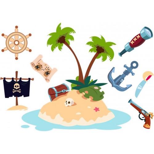 Kalóz falmatrica, kincses sziget