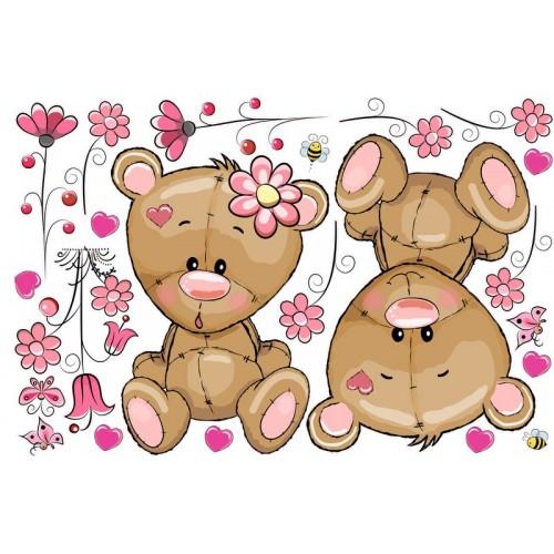 Macik virágokkal falmatrica