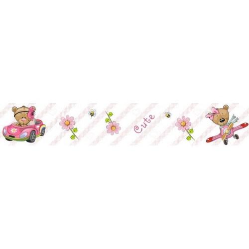 Rózsaszin autós, repülős macis bordűr